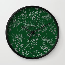 Forest green country chic faux silver floral leaves Wall Clock