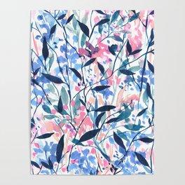 Wandering Wildflowers Blue Poster