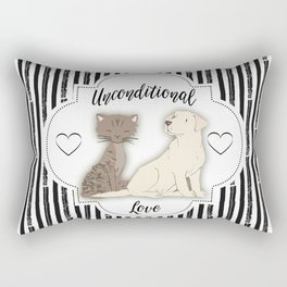 Unconditional Love Cat and Dog as Family Members Stripes Rectangular Pillow