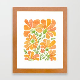 Happy California Poppies / hand drawn flowers Framed Art Print