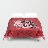 sarcasm Duvet Covers featuring Sarcasm skull on pillow _ red by NENE W