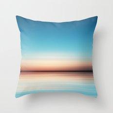 Blue Sunset Beach Throw Pillow