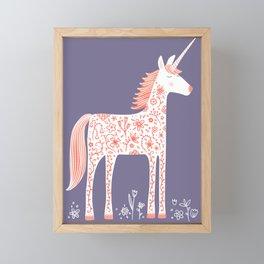 Unicorn with Flowers Framed Mini Art Print