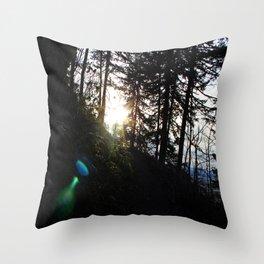 Lens flare through the trees Throw Pillow