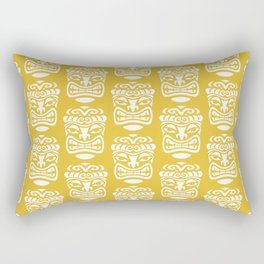 Tiki Pattern Mustard Yellow Rectangular Pillow