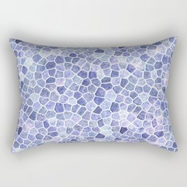 Pale Blue Cobbled Patchwork Terrazo Pattern Rectangular Pillow