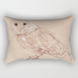 Owl Portrait - Drawing by Burning on Wood - Pyrography Art Rectangular Pillow