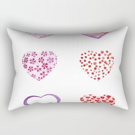 Watercolor Pink Hearts Rectangular Pillow