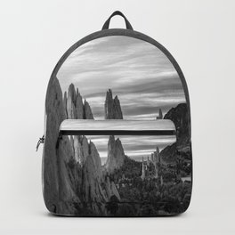 Garden of the Gods - Colorado Springs Landscape in Black and White Backpack