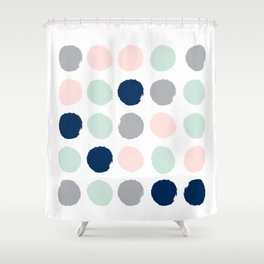 By CharlotteWinter 68996899 Trendy Color Palette Minimal Painted Dots Polka Dot Minimalist Pink Mint Grey Navy Shower Curtain