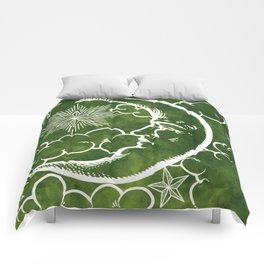 Moon vintage green Comforters
