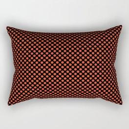 Black and Tangerine Tango Polka Dots Rectangular Pillow