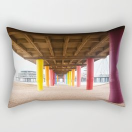 Pier with color painted columns on the beach Rectangular Pillow