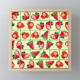 Strawberries pattern Framed Mini Art Print