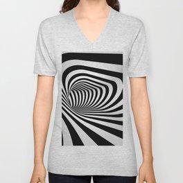 Optical Illusion Op Art Black and White Warped Hall Unisex V-Neck