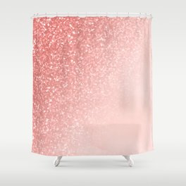 She Sparkles Deep Rose Gold Pastel Pink Luxe Geometric Shower Curtain