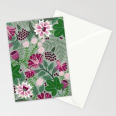 Magenta flowers on grey Stationery Cards