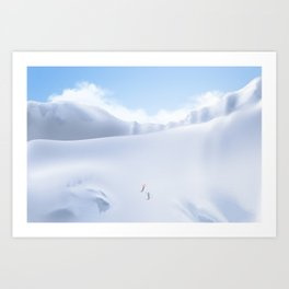 Minimal Snow Mountain Landscape Skiing 14 Art Print