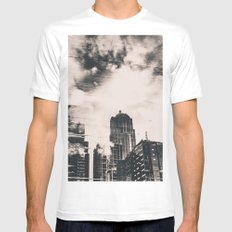 Seattle Pier 57 Reflection in Black and White MEDIUM Mens Fitted Tee White