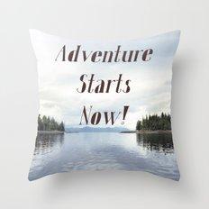 Adventure Starts Now! Alaska Throw Pillow
