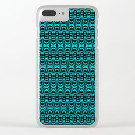 Abstract Pattern Dividers 07 in Turquoise Black Clear iPhone Case