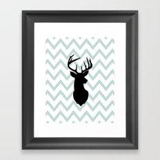 Chevron Deer Silhouette Framed Art Print