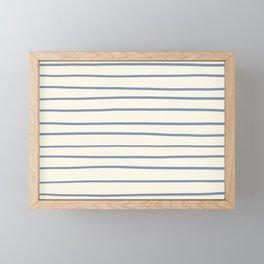 Dusk Sky Blue 27-23 Hand Drawn Horizontal Lines on Dover White 33-6 Framed Mini Art Print