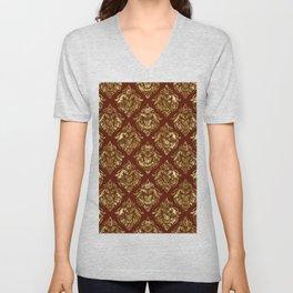 Gold and brown vintage damask pattern Unisex V-Neck