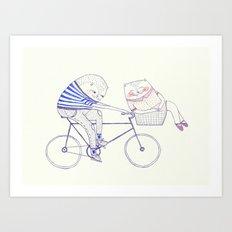 bicycle cat Art Print