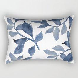 Indigo Leaves Watercolour painting Rectangular Pillow