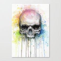 Skull Rainbow Watercolor Painting Skulls Canvas Print