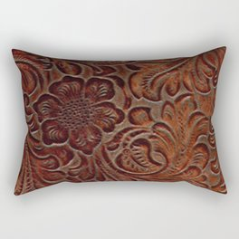 Burnished Rich Brown Tooled Leather Rectangular Pillow