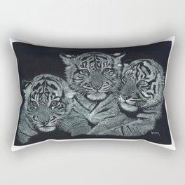 Tiger Kittens Scratchboard by Don Winsor Rectangular Pillow