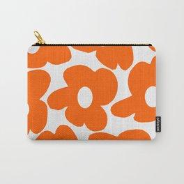 Orange Retro Flowers White Background #decor #society6 #buyart Carry-All Pouch
