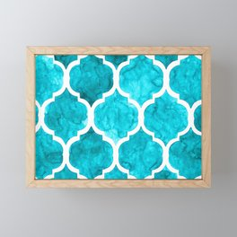Elegant turquoise quatrefoil pattern in watercolor Framed Mini Art Print