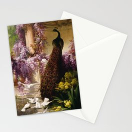 Peacock, White Doves, Yellow Iris & Purple Flowering Wisteria in a Garden landscape floral painting Stationery Cards