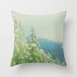 Blue Green Winter Throw Pillow