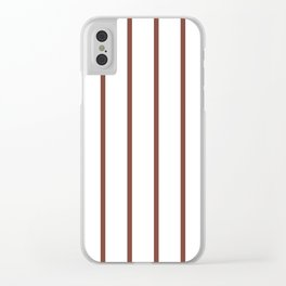 Vertical Lines (Maroon & White Pattern) Clear iPhone Case
