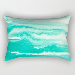 Modern hand painted teal turquoise watercolor brushstrokes Rectangular Pillow