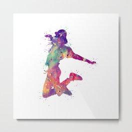 Hip-Hop Girl 2 Art  Colorful Purple Watercolor Art Rap Music Gift Dance Art Party Gifts Metal Print
