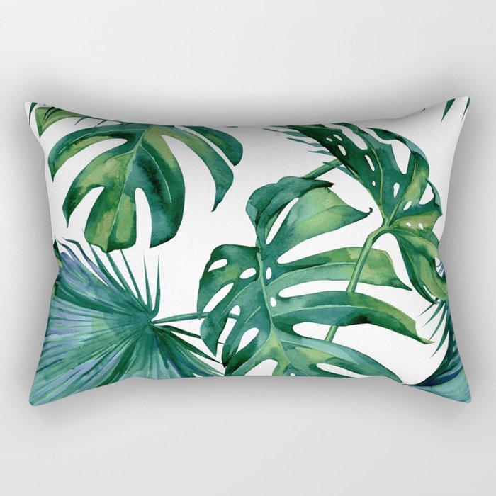 Classic Palm Leaves Tropical Jungle Green Rectangular Pillow