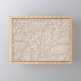 Fancy Light Tan Fern Leaves Scroll Damask on Taupe Framed Mini Art Print
