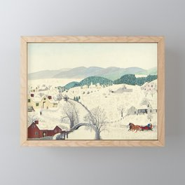 Anna Mary Robertson 'Grandma' Moses To Grandma's House We Go on Thanksgiving Day Folk Art Framed Mini Art Print