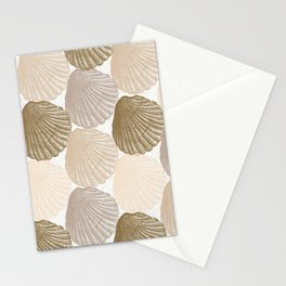 Sea Shells Pattern in Beige and Cream Stationery Cards