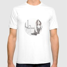 closed eyes - woman dotwork portrait Mens Fitted Tee White MEDIUM