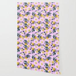 Geometric and Lemon pattern Wallpaper