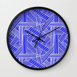Sketchy Abstract (White & Blue Pattern) Wall Clock