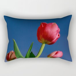 Red Tulips In The Blue Sky Rectangular Pillow