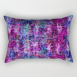 psychedelic abstract art pattern texture background in pink blue black Rectangular Pillow