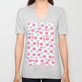 Modern pink watercolor dots black brushstrokes pattern Unisex V-Neck
